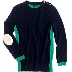 J. crew color block cashmere sweater navy green